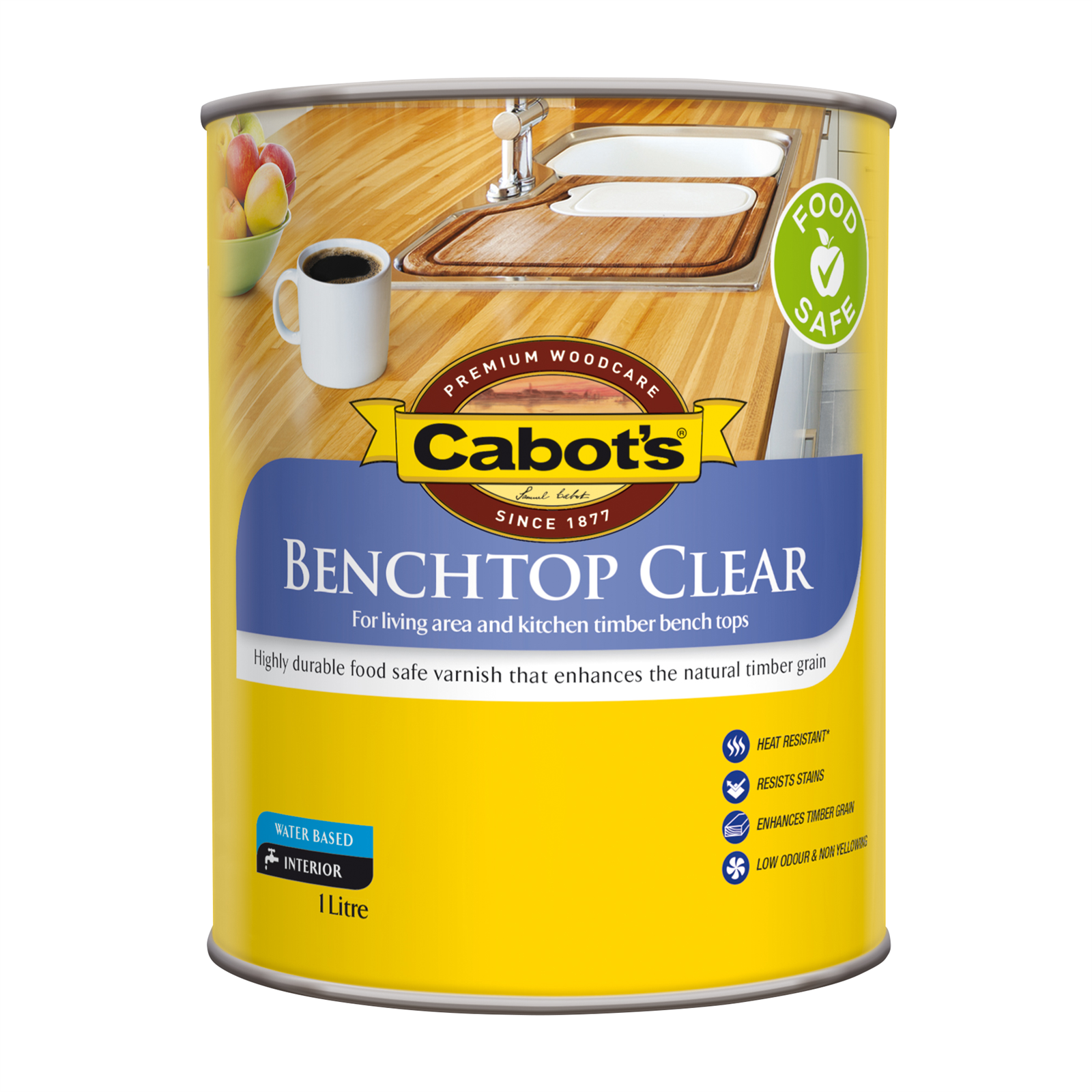 Cabot's 1L Satin Clear Benchtop Timber Finish