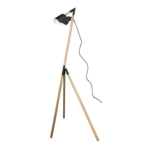 Brilliant 1300mm Natural Timber With Black Metal Highlights Kyoto Floor Lamp