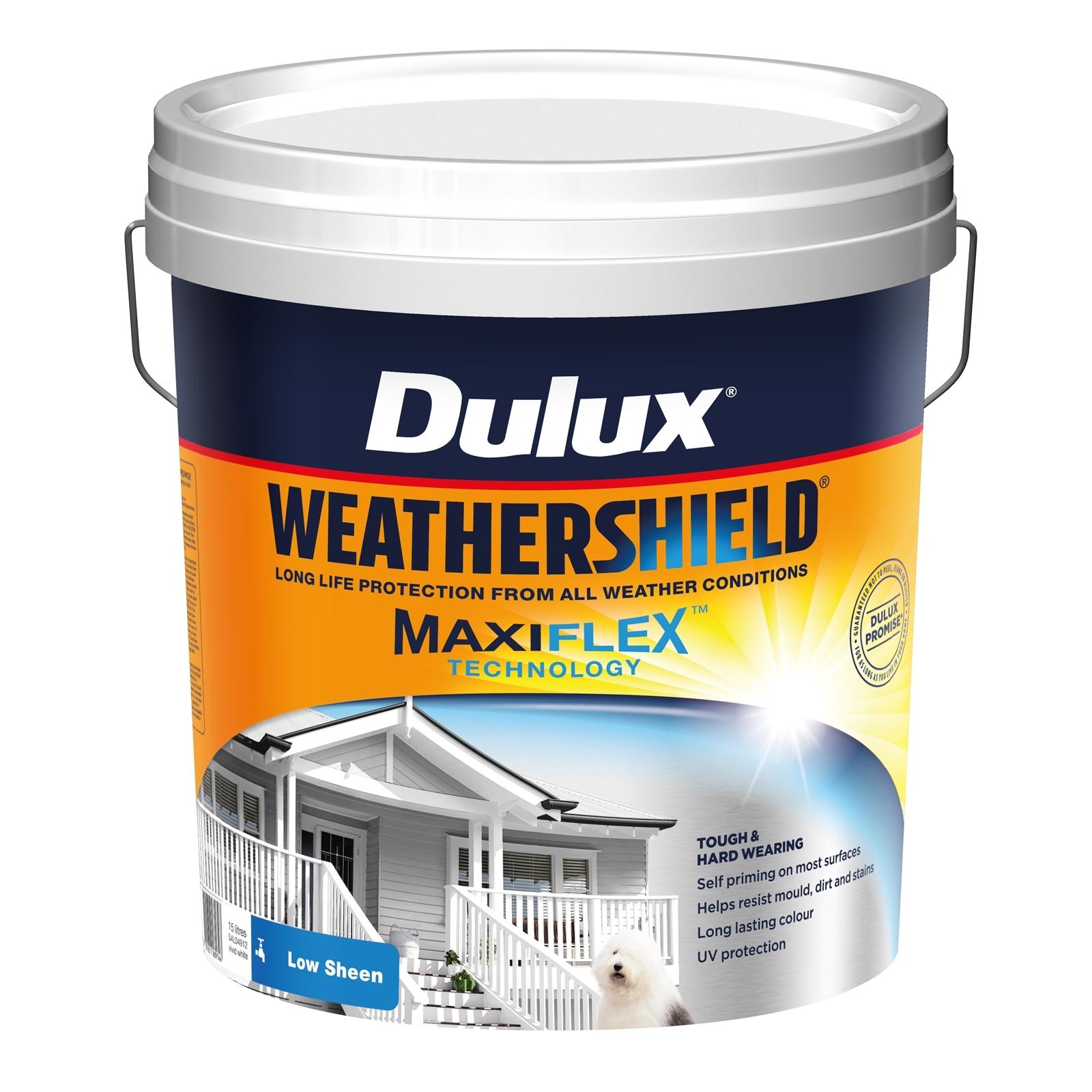 Dulux 15L Exterior Paint Weathershield Low Sheen Vivid White Exterior Paint