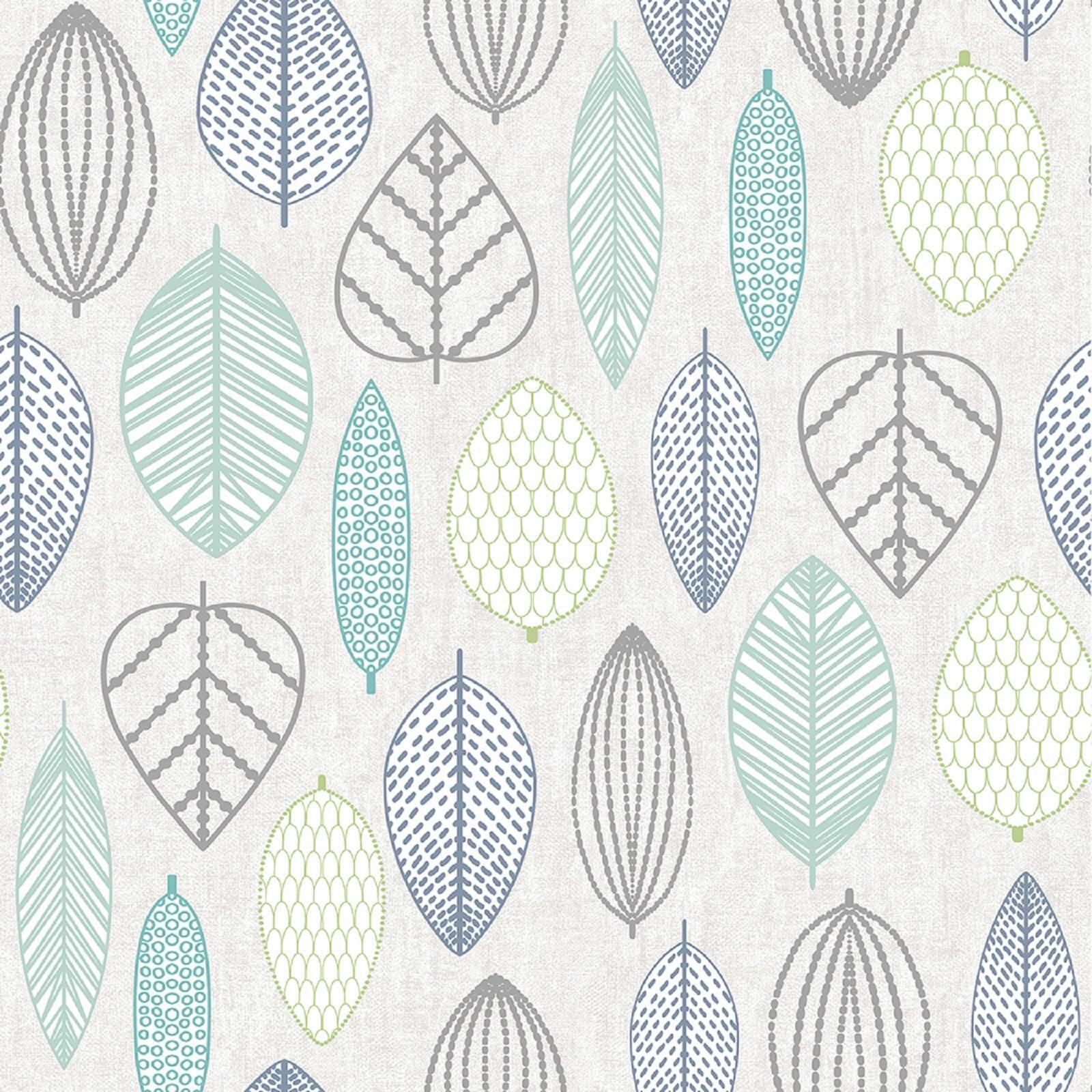 Superfresco Easy Blue Scandi Leaf Wallpaper - ½m Blue Green