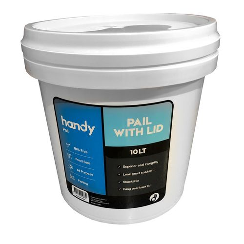 Handy 10L White Pail With Lid