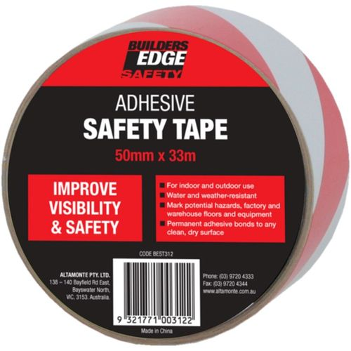 Builders Edge Safety Red/White 50mm x 33m Adhesive Safety Tape