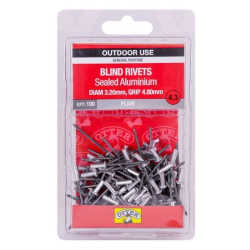 Otter 3.2 x 4.8mm Sealed Aluminium Blind Rivets - 100 Pack