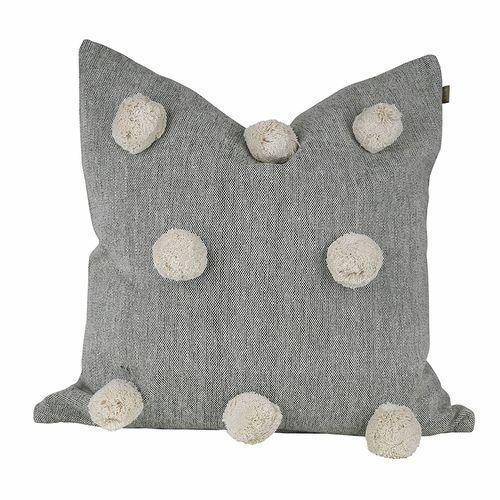 Decor Villa Chambray Pom Pom Olive Feather Insert Cushion