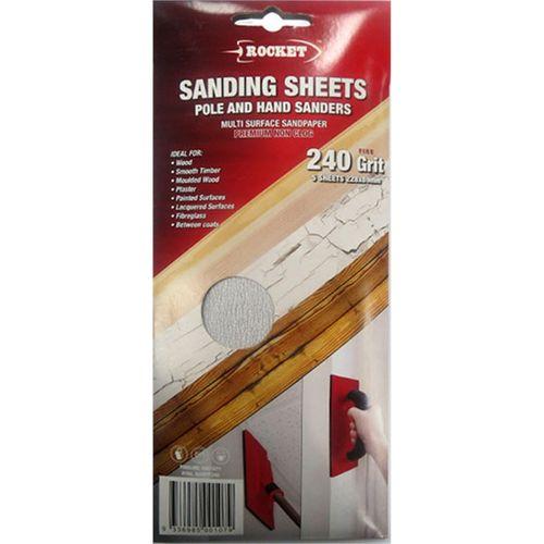 Rocket 240 Grit Hard Grade Hand and Pole Sanding Sheets - 5 Pack