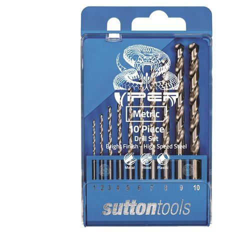 Sutton Tools 10 Piece Viper Metric Drill Bit Set