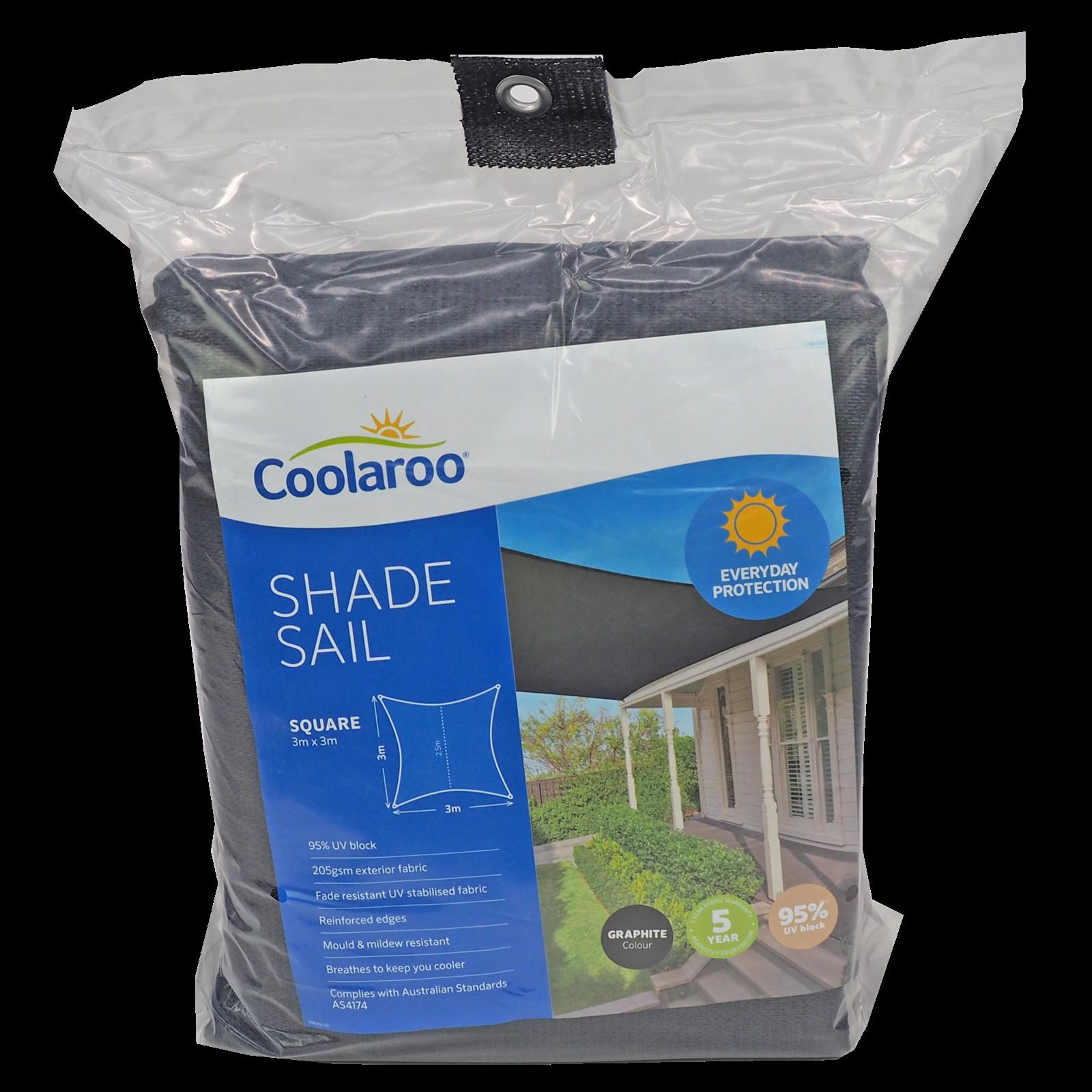Coolaroo 3.0m Square Graphite Everyday Shade Sail