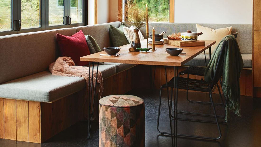 Dining table around bench seat
