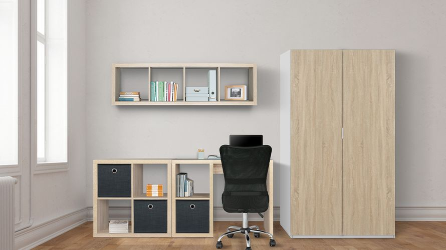 Study space with desk with cube storage units, cube floating shelving and cupboard