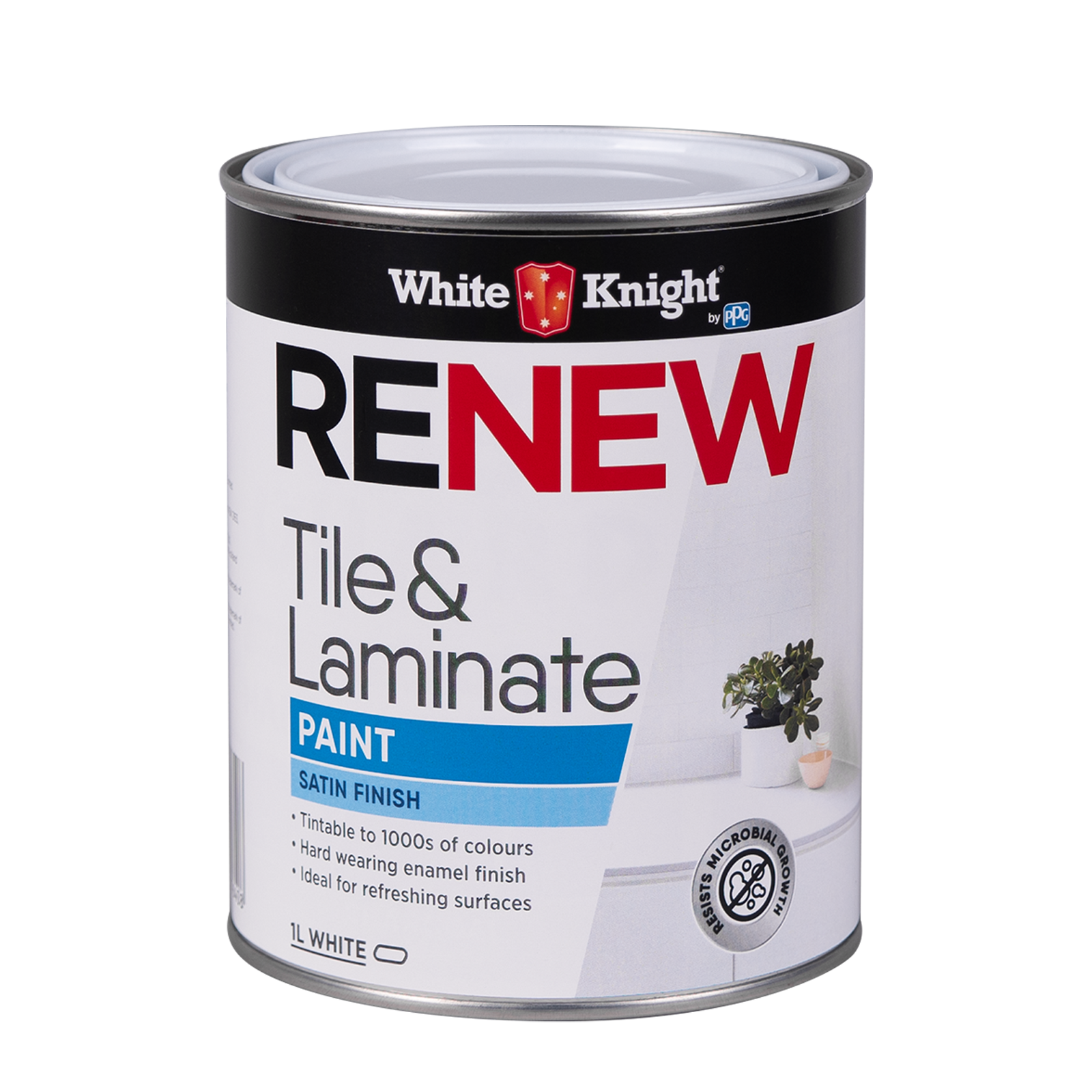 White Knight 1L White Satin Renew Tile And Laminate Paint