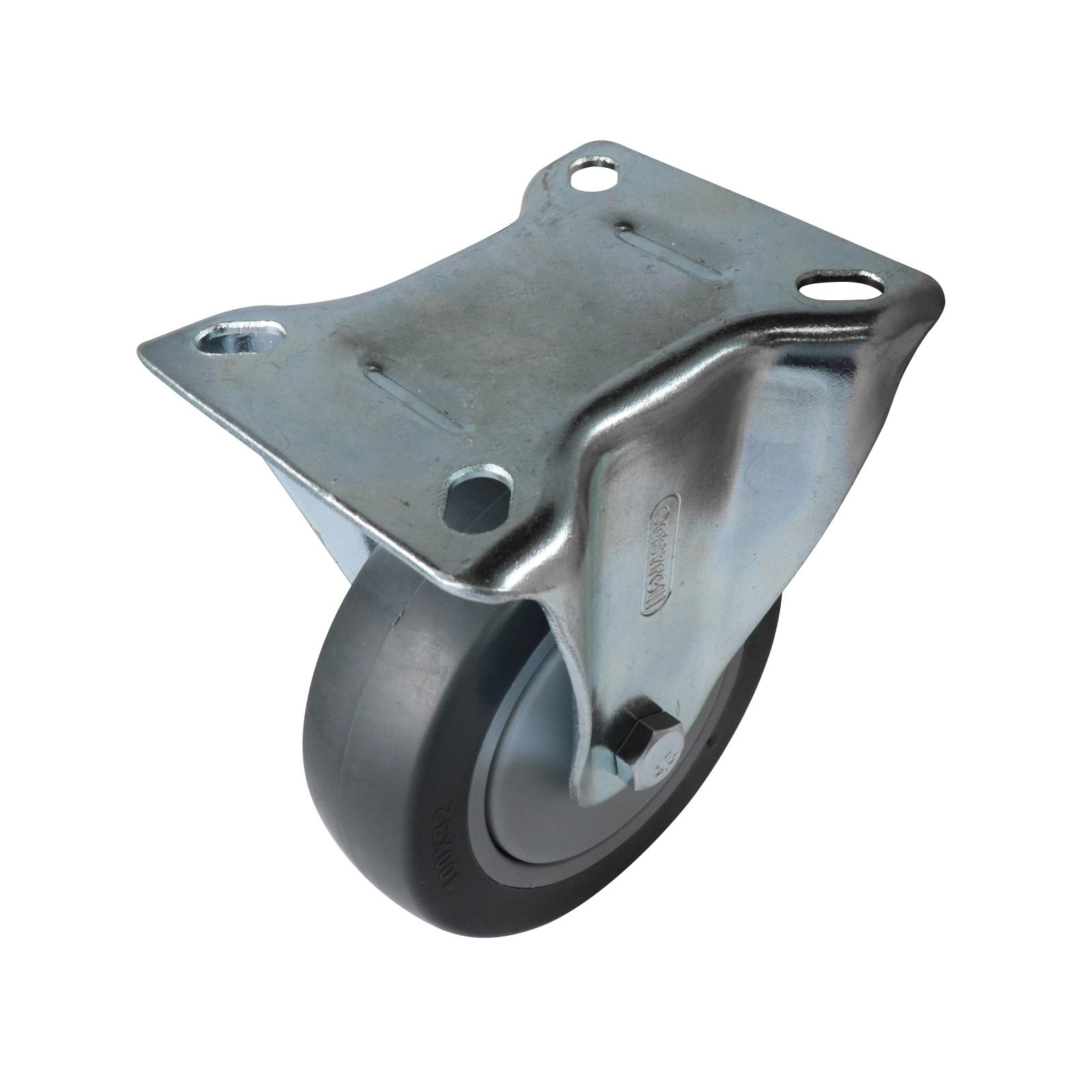 Easyroll 100mm 100kg Heavy Duty Grey Rubber Fixed Castor 16015