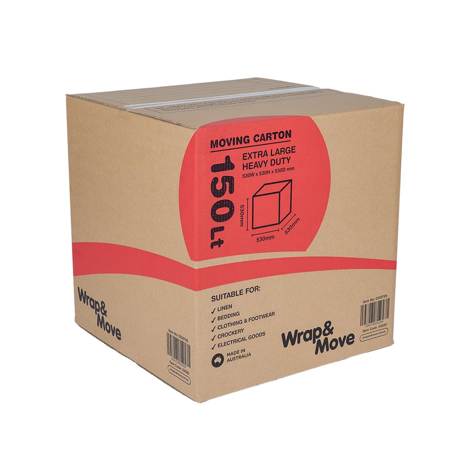 Wrap & Move 530 x 530 x 530mm 150L Heavy Duty Moving Carton