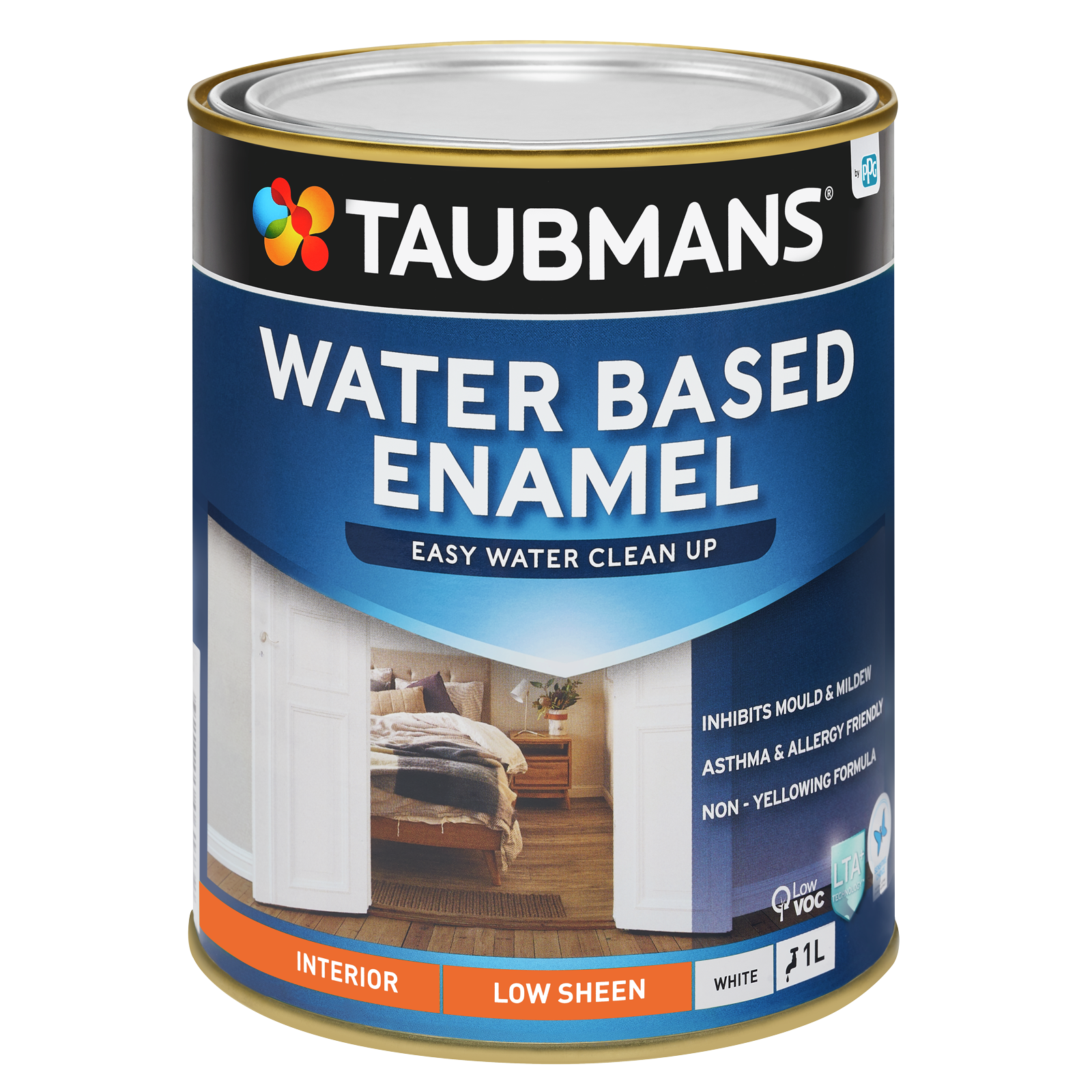 Taubmans 1L White Low Sheen Water Based Enamel