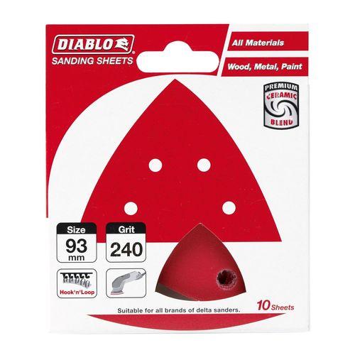 Diablo 93 x 93mm 240 Grit Abrasive All Surface Detail Sander Sheets - 10 Pack