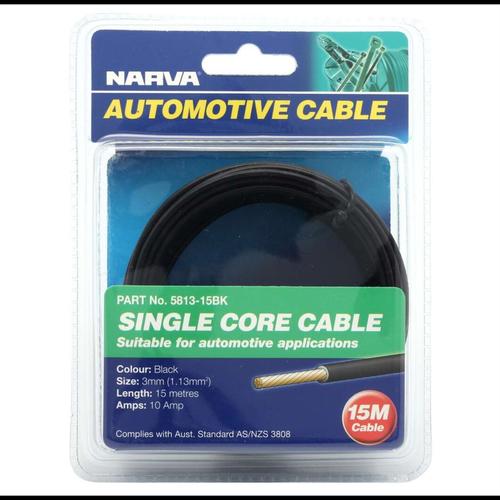 Narva 3mm x 15m Black Single Core Copper Cable