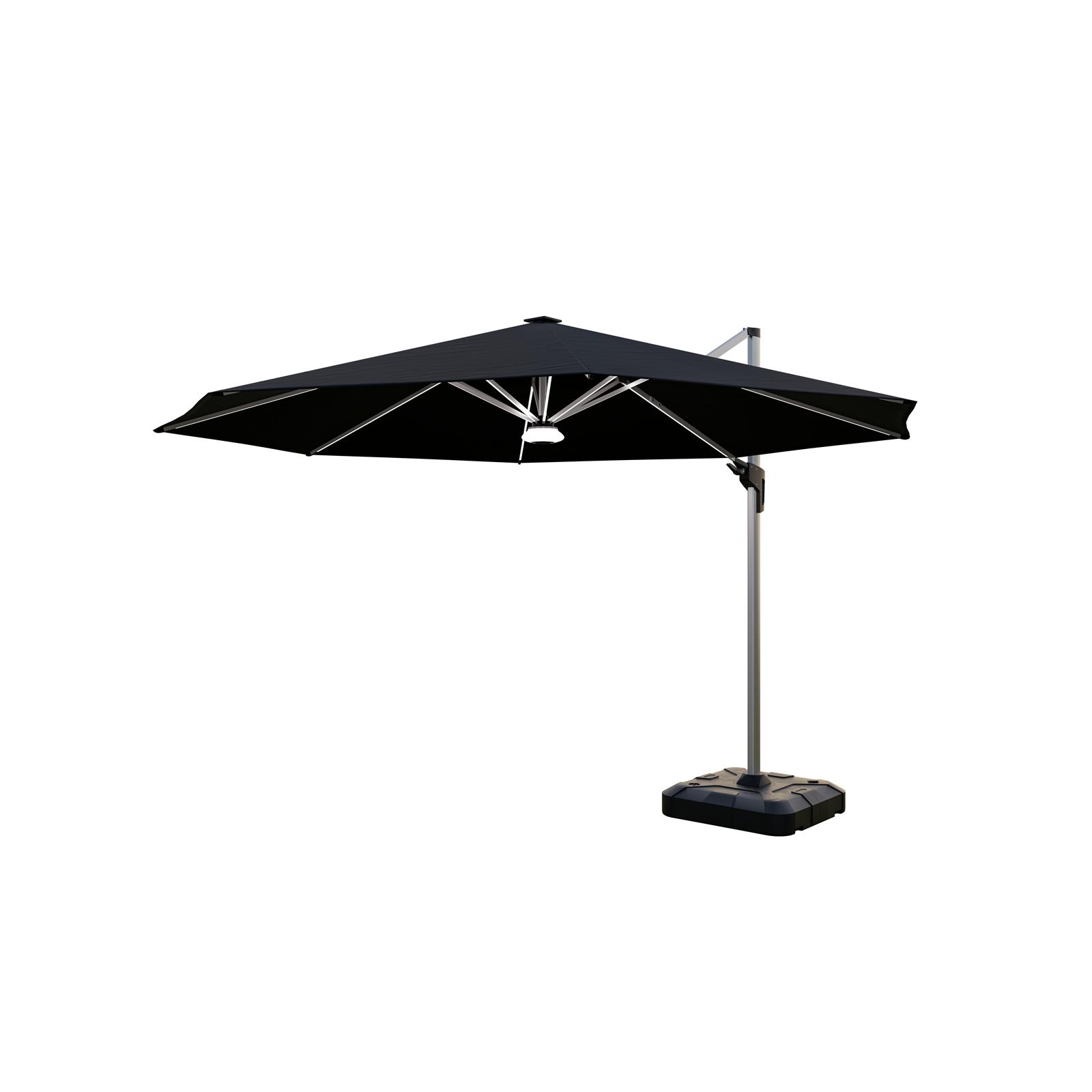 Coolaroo 3.5m Black Brighton Solar Cantilever Umbrella