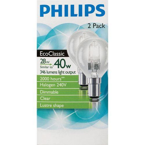 Philips Halogen EcoClassic Fancy Round 28w SBC Clear Bulb 2pk