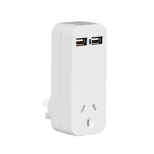 Arlec Single Power Point with Dual USB Charger