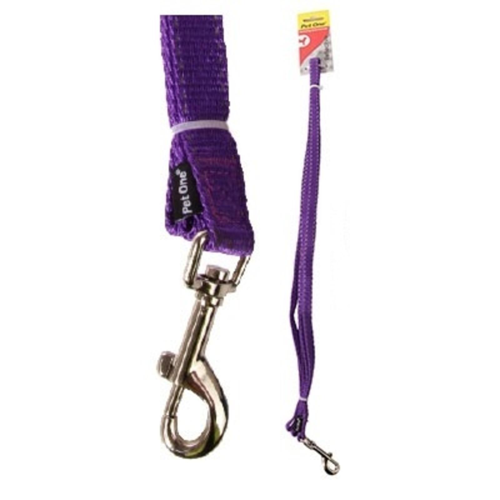 Dog Leash Lead Reflective Nylon - Purple - 15mm x 150cm (Pet One)