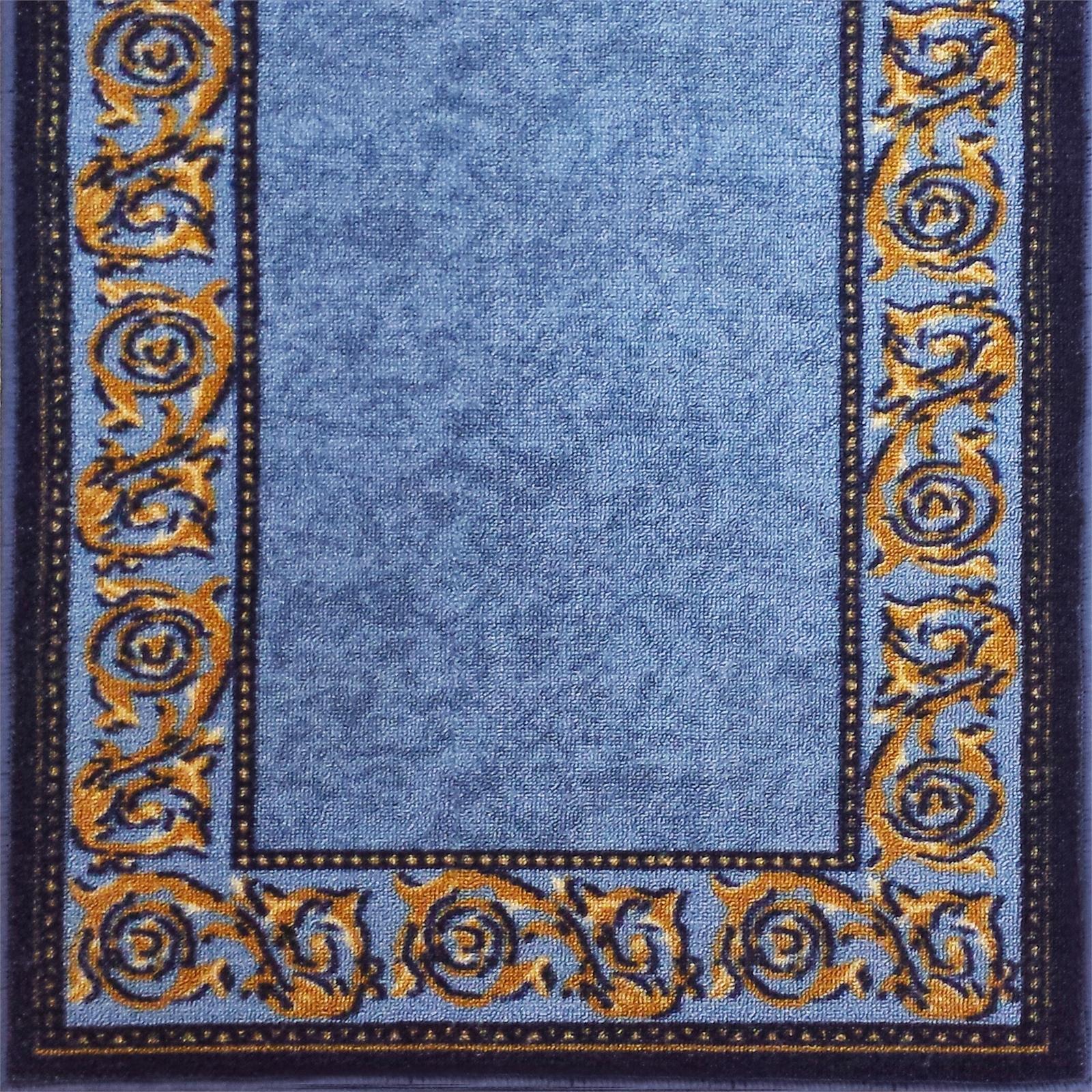 Ideal DIY 67 x 180cm Gold Leaf Blue Loop Pile Carpet Runner