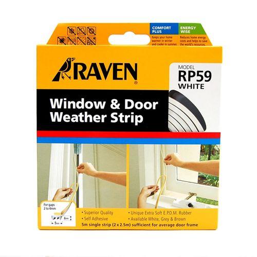 Raven 5m White Superior Door And Window Weather Strip