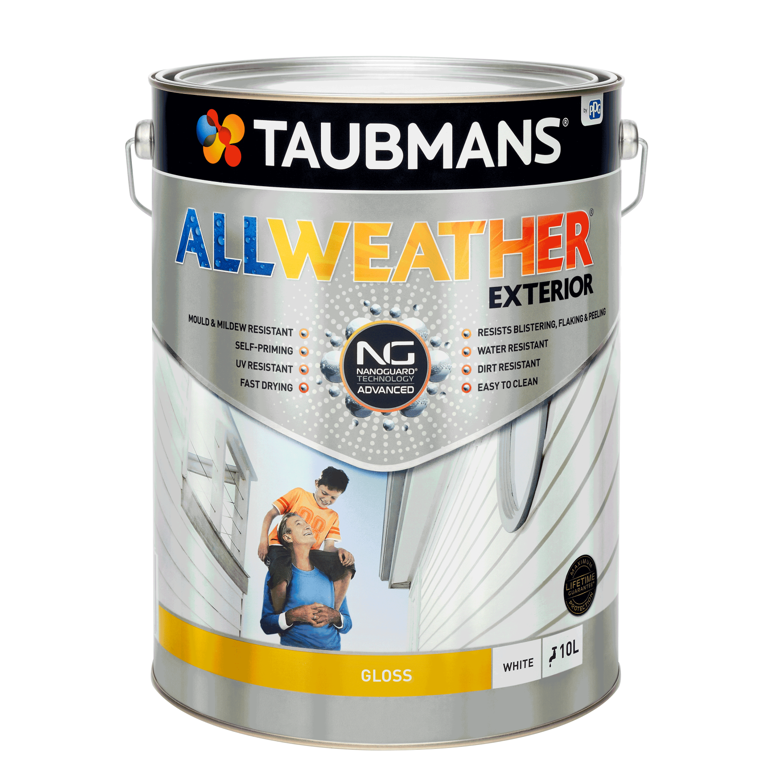 Taubmans 10L White Gloss All Weather Exterior Paint