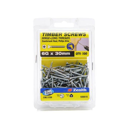 Zenith 6G x 30mm Zinc Plated Hinge-Long Thread Countersunk Head Timber Screws - 100 Pack