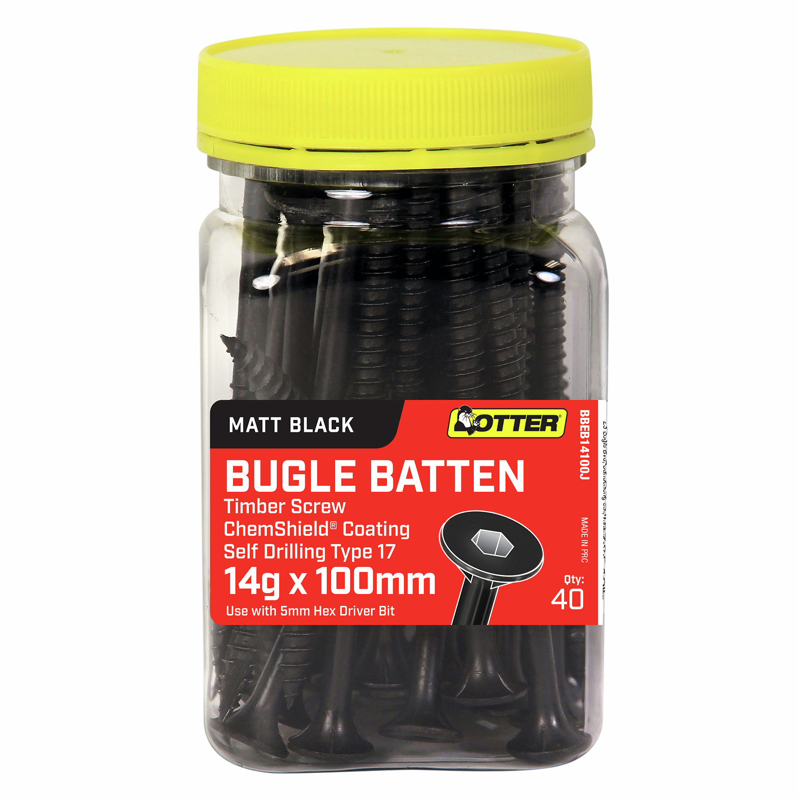 Otter 14g x 100mm Matt Black Bugle Batten Screws - 40 Pack