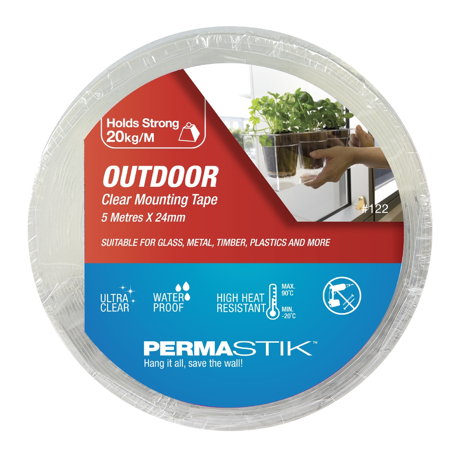 Permastik 5m x 24mm Clear Outdoor Mounting Tape