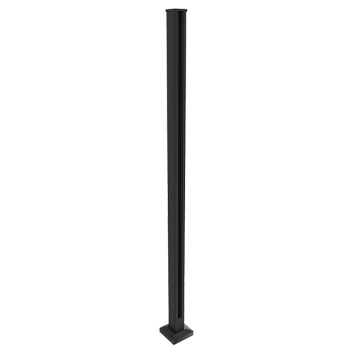 Architects Choice 50 x 50 x 1300mm Black Glass Fence Flanged End Post