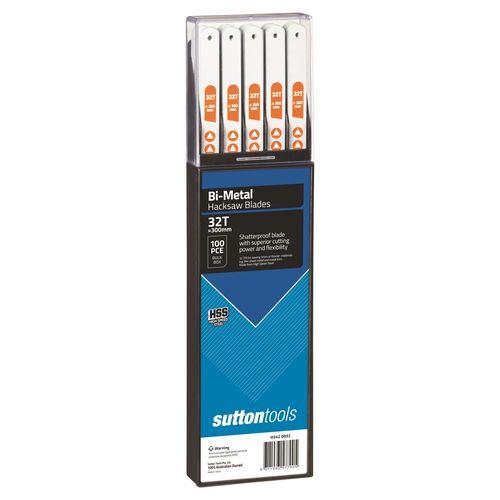 Sutton Tools 300mm 32 TPI Bi-Metal Hacksaw Blade - 100 Pack
