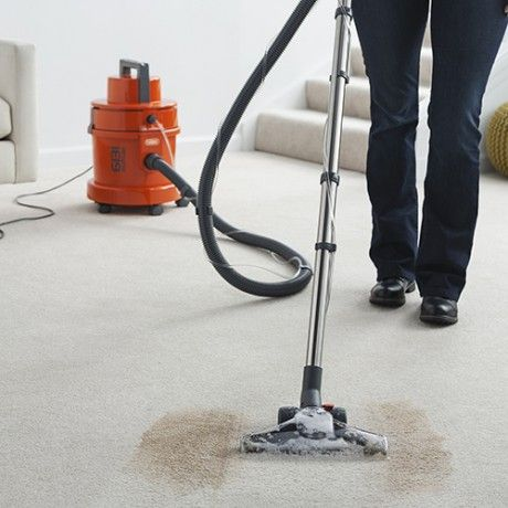 A person vacuuming a clean line through a patch of loose soil on a pale carpet