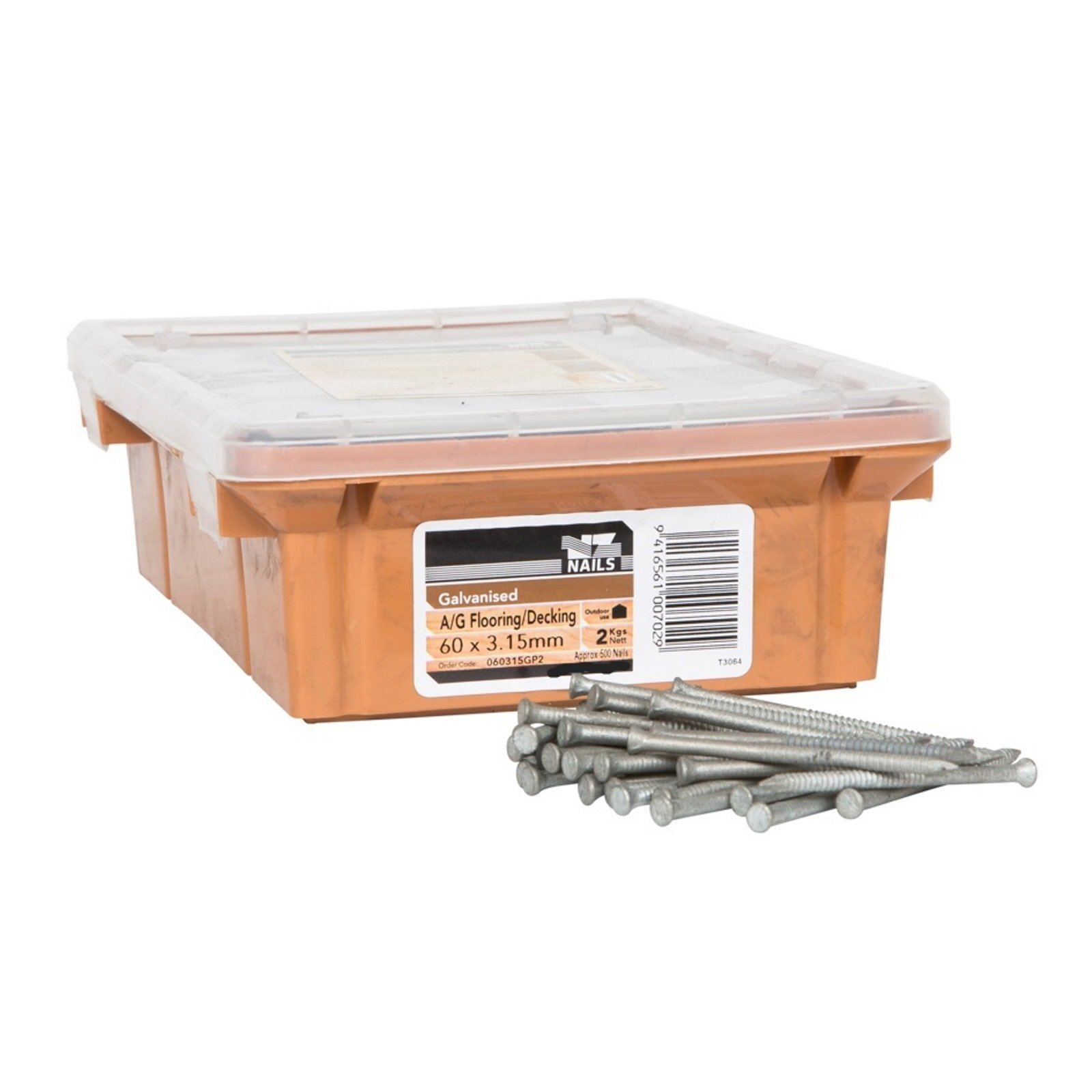 NZ Nails 60 x 3.15mm Galvanised Timber Flooring Nail - 2kg Box