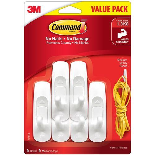 Command Medium White Adhesive Wall Hooks Value Pack - 6 Pack