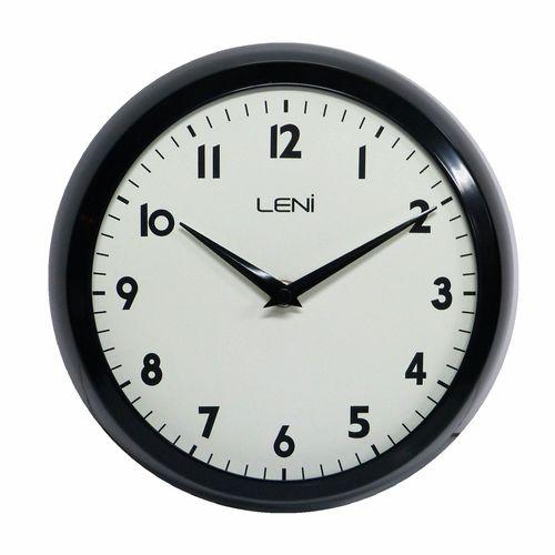 Leni 23cm Gloss Black Metal School Wall Clock