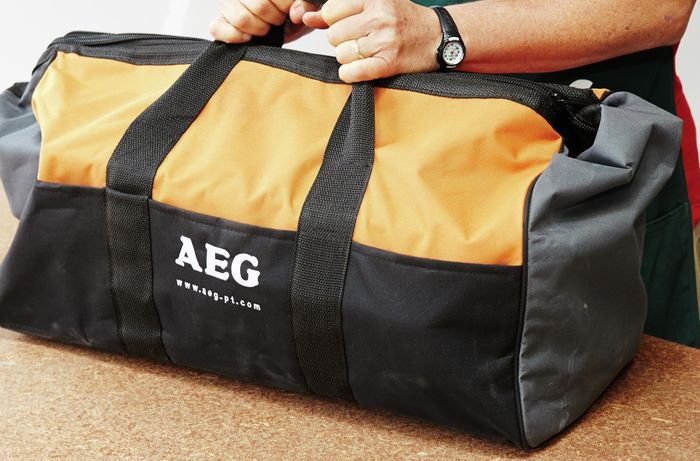 A heavy duty storage bag for tools
