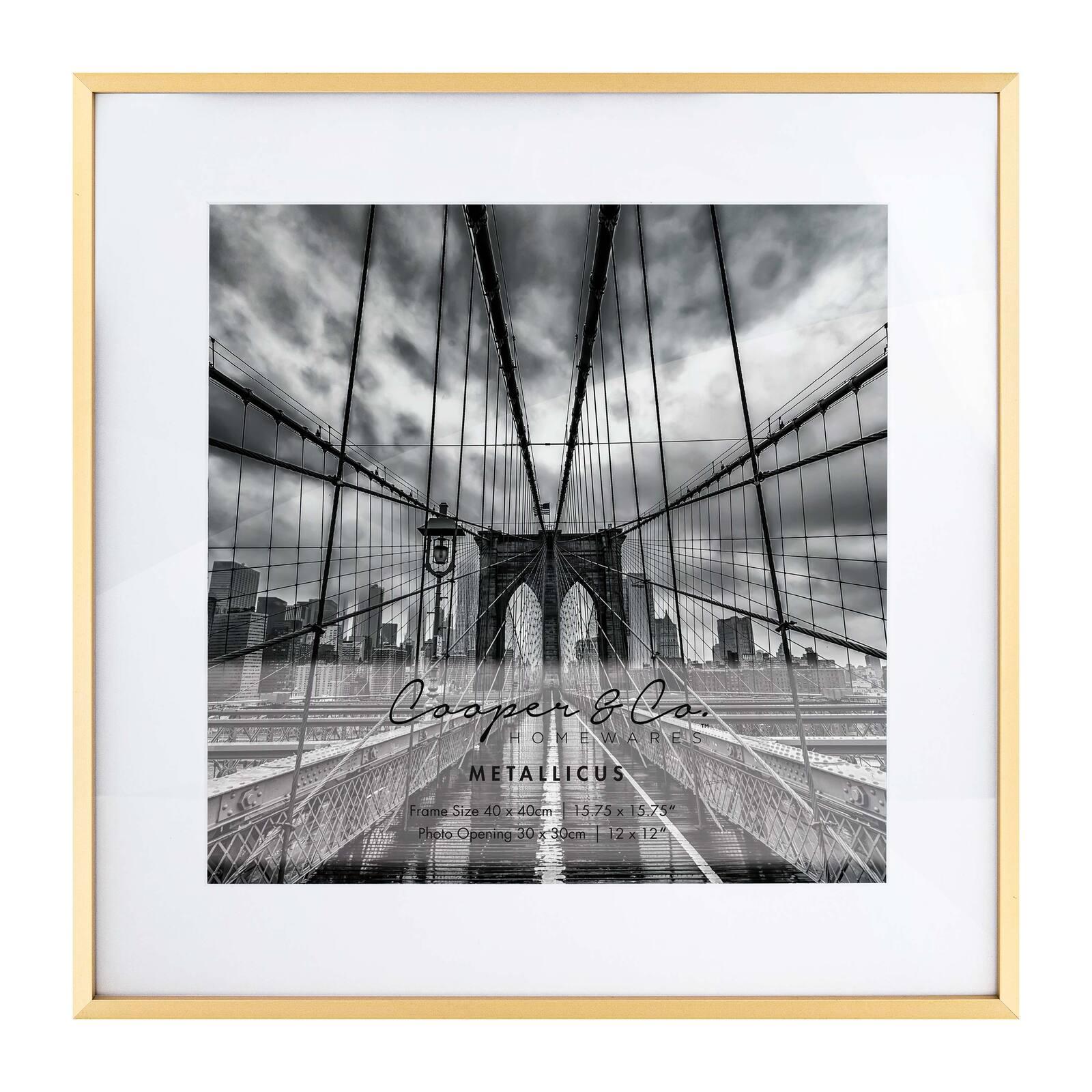 Cooper & Co. 40x40cm Mat to 30x30cm Metallicus Metal Photo Frame Gold