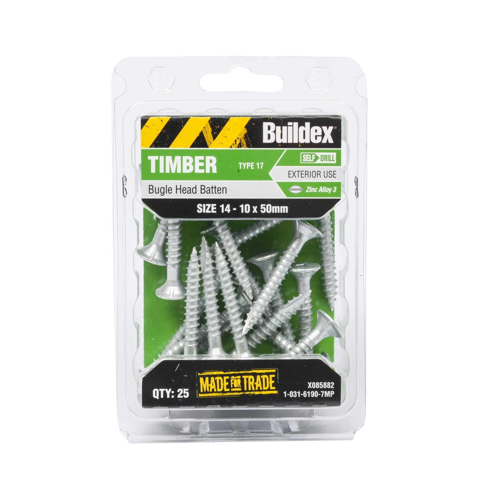 Buildex 14-10 x 50mm Zinc Alloy Bugle Head Batten Timber Screws - 25 Pack