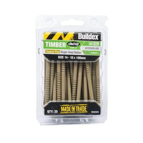 Buildex 14-10 x 100mm Climacoat Bugle Head Batten Timber Screws - 25 Pack