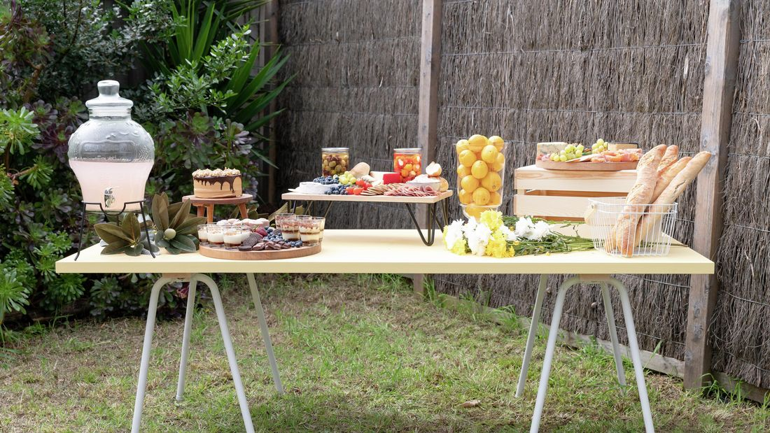 a grazing table with snacks