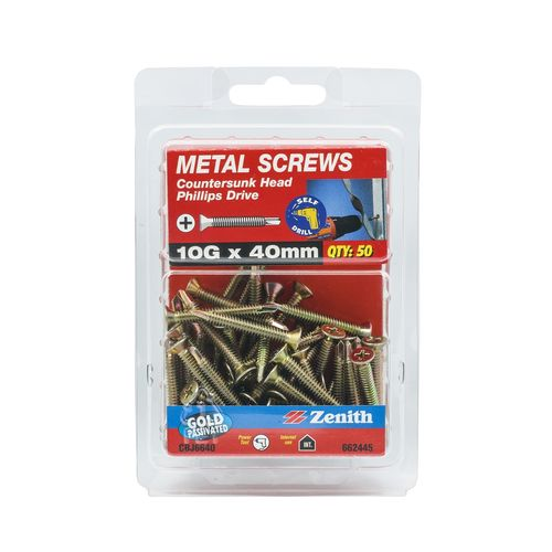 Zenith 10G x 40mm Gold Passivated Countersunk Head Metal Screws - 50 Pack