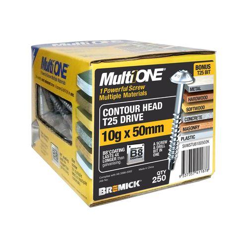 Bremick MultiONE 10g x 50mm B8 Contour Head Screw - 250 Pack