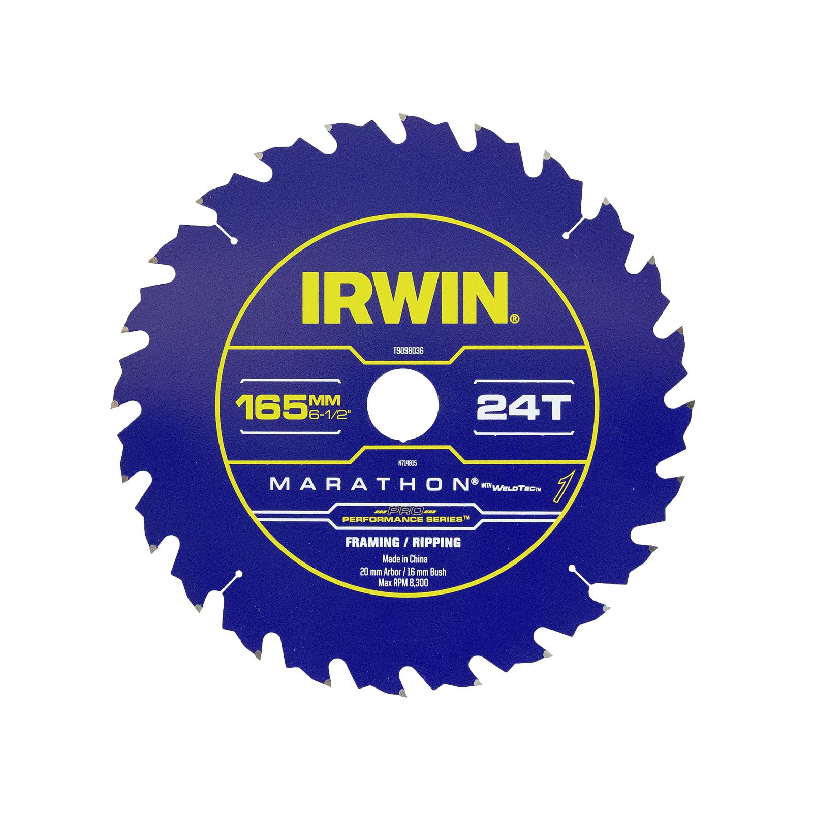 Irwin WeldTec 165mm 24T Construction Circular Saw Blade