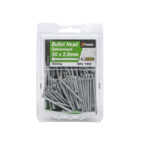 Paslode 50 x 2.8mm 500g Galvanised Bullet Head Nails - 160 Pack