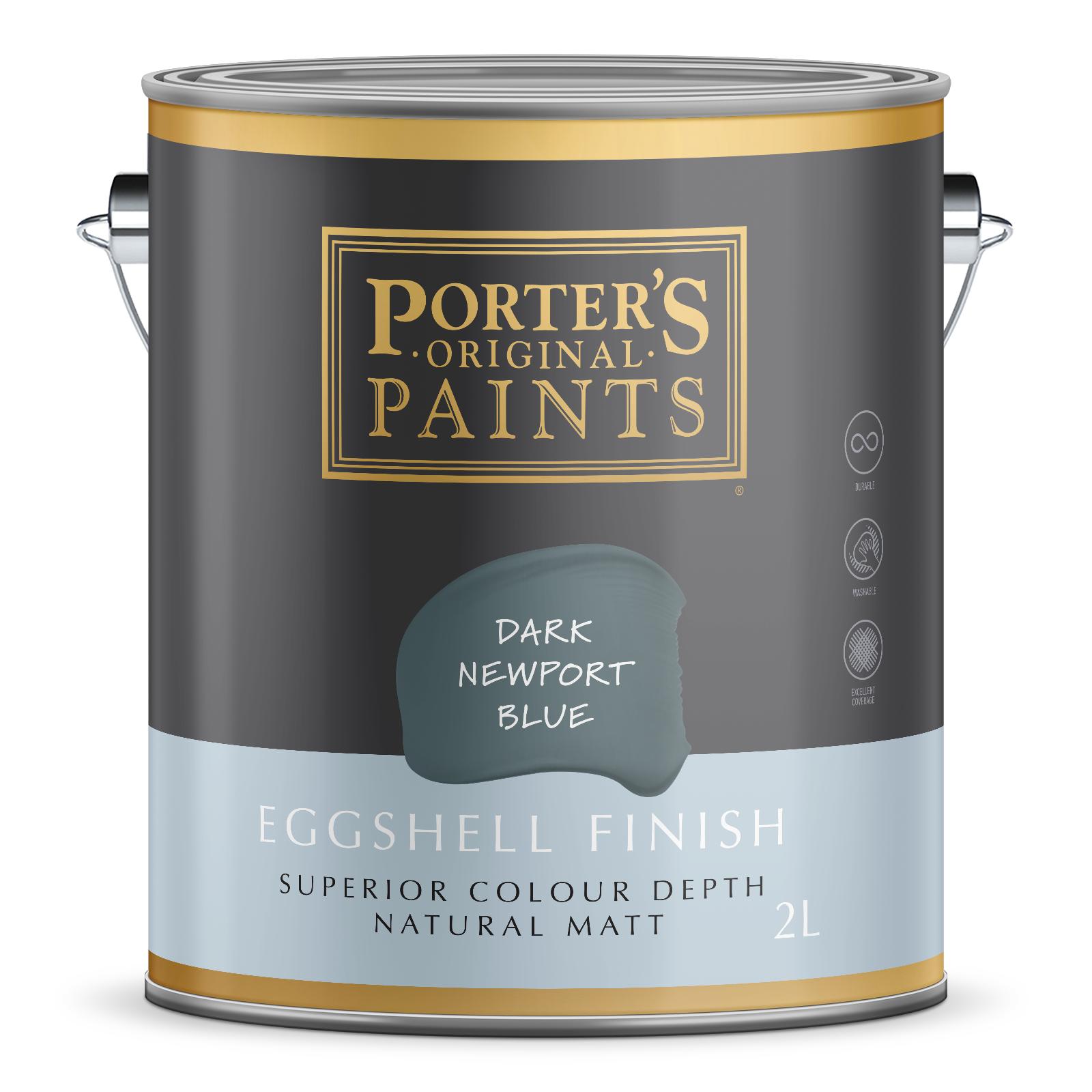 Porter's 2L Dark Newport Blue Eggshell Finish Broadwall Washable Paint