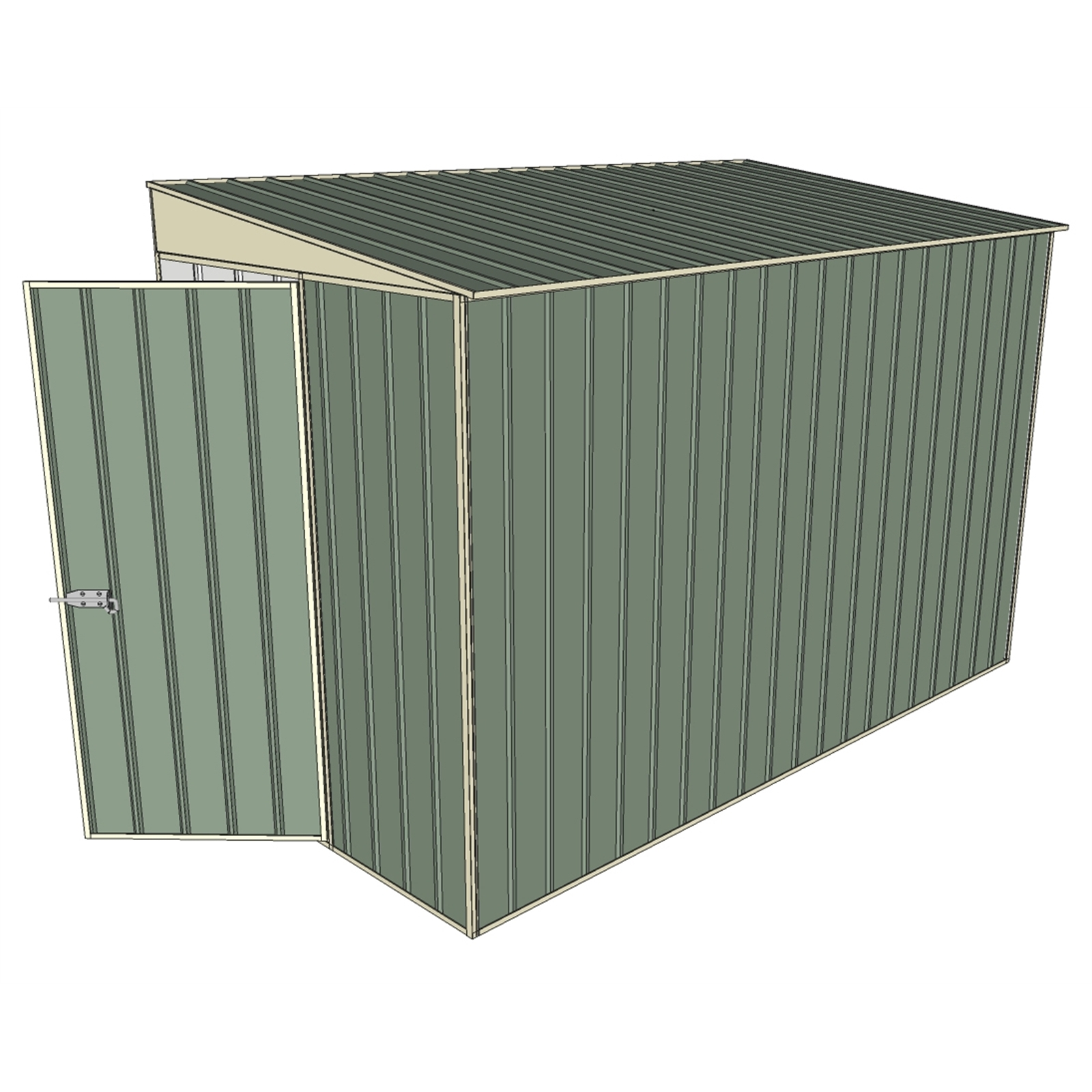 Build-a-Shed 1.5 x 3.0 x 2.0m Tunnel Shed Tunnel Hinged Door with No Side Doors - Green
