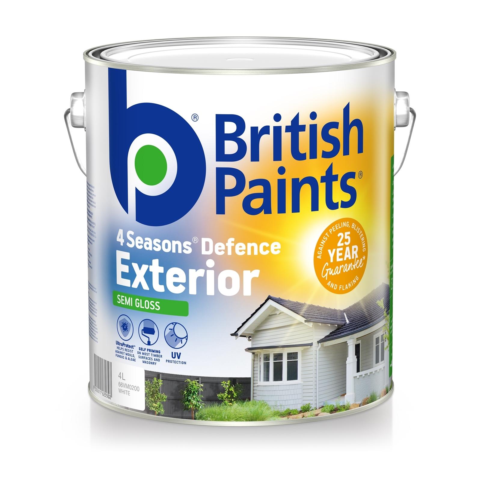 British Paints 4L 4 Seasons Semi Gloss White Exterior Paint