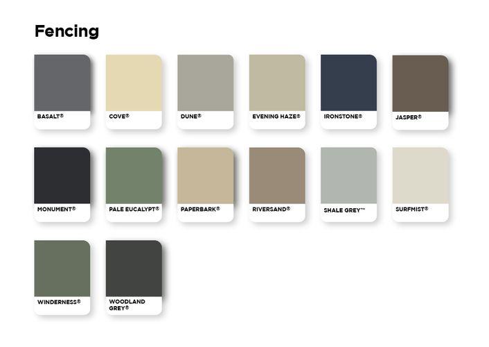 Fencing colour palette options.