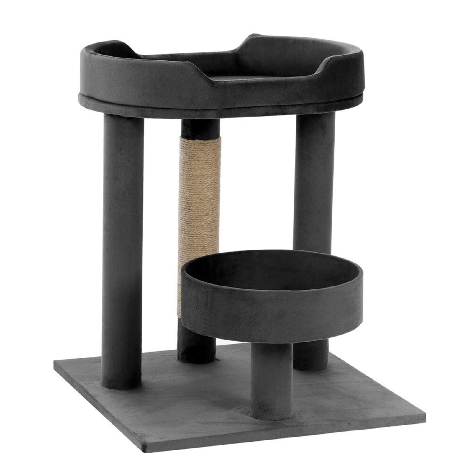Paws & Claws 58.5cm Catsby Kew Perch/Bed Cat/Kitten Scratching Post Charcoal