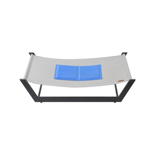 Charlie's Pet Elevated Trampoline Pet Bed with Gel Cooling Mat – Steel Frame and Grey Mat